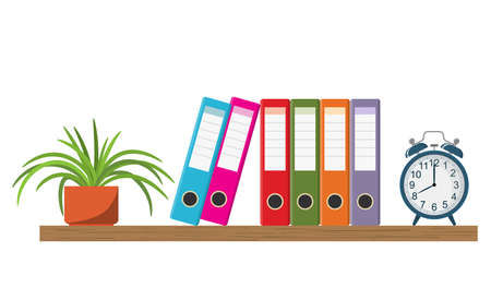 Wooden shelf with Colorful office folders, alarm clock, and flowerpot. Vector illustration in flat style