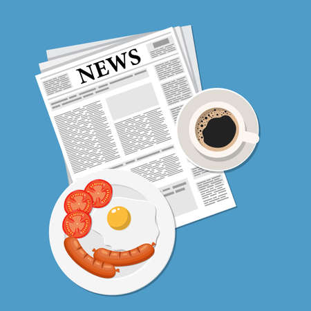 Breakfast with coffee top view. Plates of Breakfast on the table. Family Breakfast in different cultures. Newspaper on table with food illustration. Vector illustration in flat style