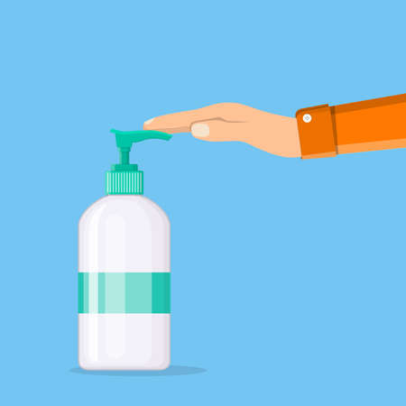 Man washing hands. Bottle of liquid antibacterial soap with dispenser, moisturizing sanitizer. Disinfection, hygiene, skin care concept. Vector illustration in flat style