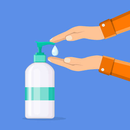 Disinfection concept. Liquid soap with pumping from bottle. Applying a moisturizing sanitizer. Man washing hands