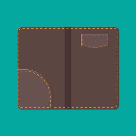 Leather folder for cash, coins and cashier check. Thanks for the service in the restaurant. Money for servicing. Good feedback about the waiter. Gratuity concept. Vector illustration in flat style