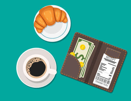 Cup of coffee, dessert on plate. opened bill holder with restaurant check and cash money, top view. Customers payment for cafe service. Vector illustration in flat style Illustration