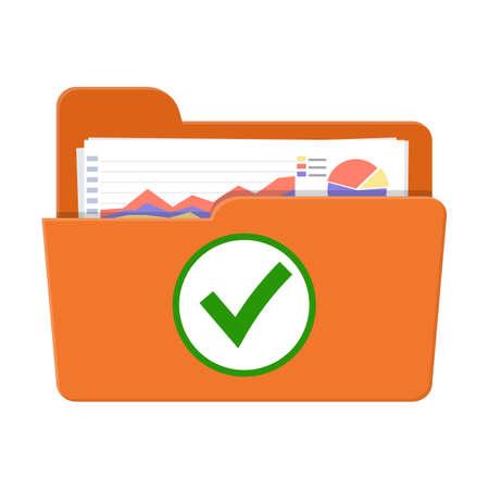 Concept d'audit de succès. Icône de dossier ouvert, documents avec graphiques et coche verte. Illustration vectorielle dans un style plat Vecteurs
