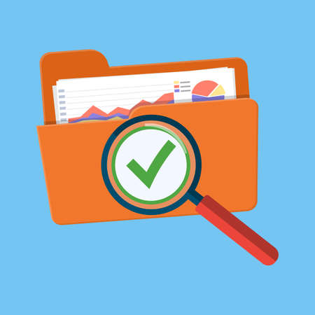 Success audit concept. Open folder icon, documents with charts and green tick check mark. Vector illustration in flat style