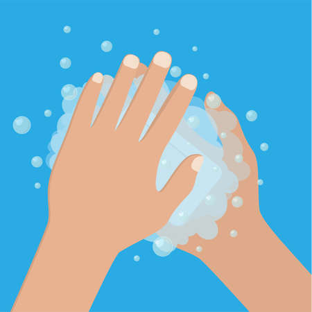 Hand washing under clean water foam health care. Vector illustration in flat style Illustration
