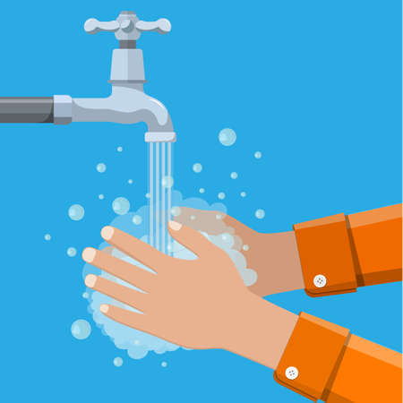 Hands under falling water out of tap. Man washes hands with soap, hygien. Vector illustration in flat style Illustration