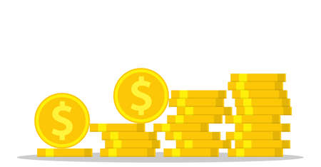 coin money stacked icon, golden penny cash pile. Vector illustration in flat style