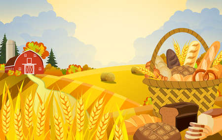 Cartoon beautiful fall farm scene with wheat fields. Farm flat landscape. Organic food concept for any design. Basket with wheat and fresh bread.