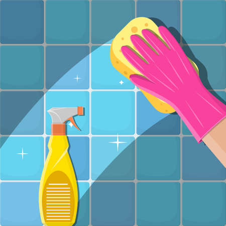 Cleaning service. Hands in green gloves with spray and sponge wash the wall tiles.