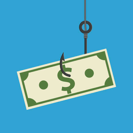 Fishhook business concept - money symbol as a trap. Deception, a trap on the hook. Stock Photo