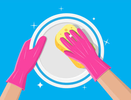 Hand in gloves with sponge wash plate. Stock Photo