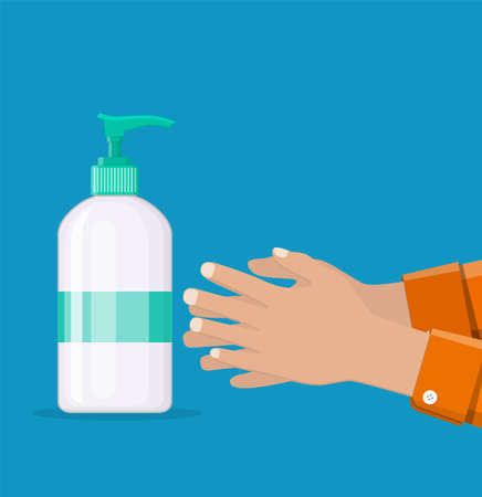 Bottle with liquid soap and hands.