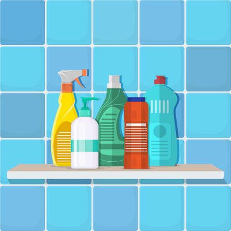The bottles of detergent, washing powder, detergent powder, a bottle of spray on the shelf in a bathroom toilet. Stock Photo