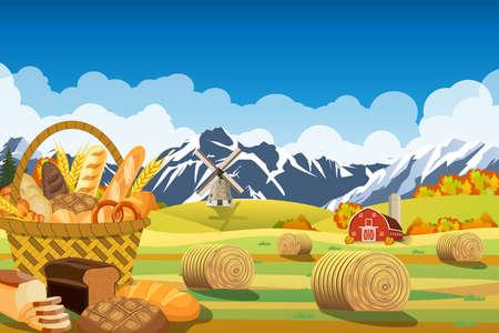 Cartoon beautiful fall farm scene with wheat fields. Farm flat landscape. Stock Photo