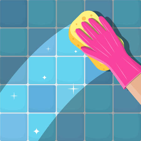 Hand in gloves with sponge wash wall in bathroom or kitchen.