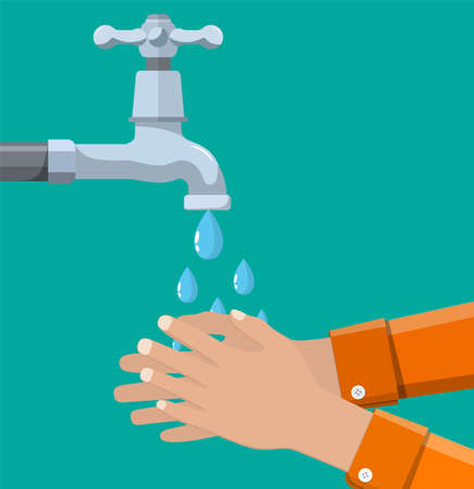 Hands under falling water out of a tap. A man washes hands, hygiene, water preservation.