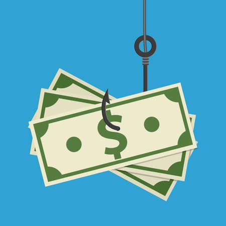 Fishhook business concept - money symbol as a trap. Stock Photo