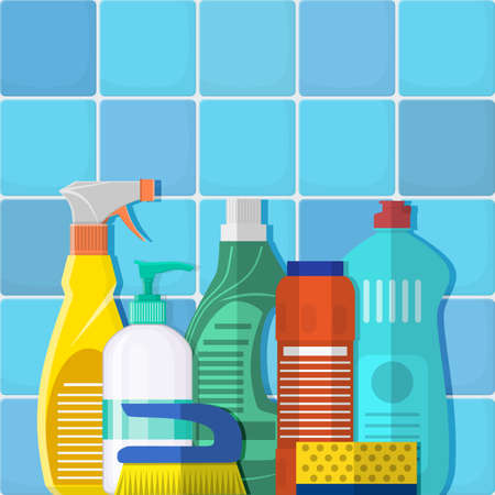 The bottles of detergent, washing powder, detergent powder, a bottle of spray, cleaning sponge, cleaning brush. Stock Photo