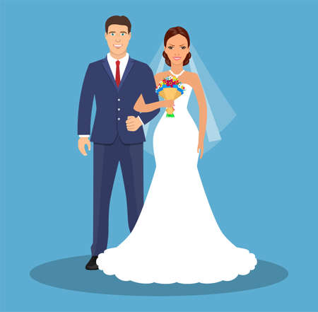 Wedding couple Bride and groom. Wedding card with the newlyweds. Vector illustration in flat style