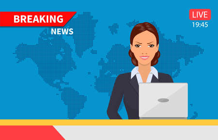 Beautiful young tv newscaster woman reporting tv news sitting in a studio. Vector illustration in flat style