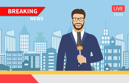 TV news anchorman. News anchor broadcasting the news with a reporter live on screen . Vector illustration in flat style Illustration