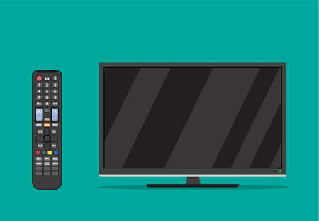 black television screen icon . led monitor display and Remote control for TV. Vector illustration in flat style