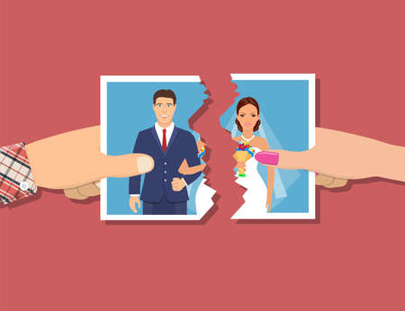 Divorcement. Man and woman hands tear apart wedding photo. Break up of relationship. End of family life. Disengagement of young former wife and husband. Divorce concept.