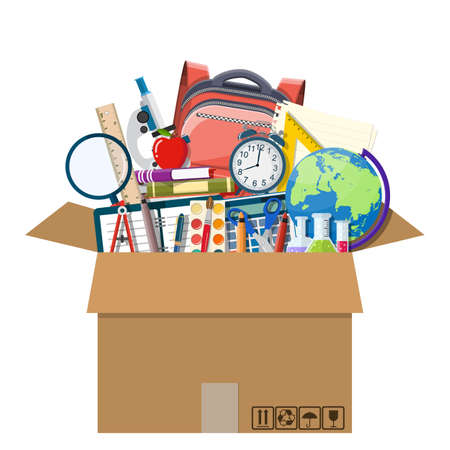 School items in cardboard box. Illustration