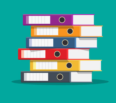 Files, ring binders, colorful office folders. Side view. Bureaucracy, paperwork and office. illustration in flat style