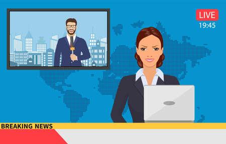 Presentador de noticias que transmite las noticias con un reportero en vivo en la pantalla. Ilustración de vector de estilo plano