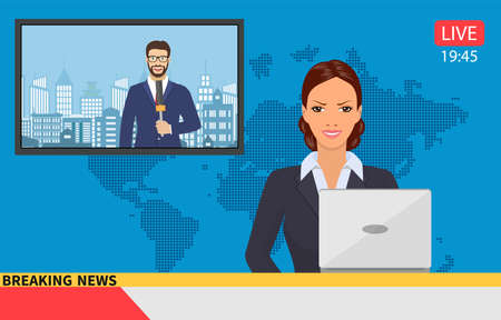 Prezenter wiadomości transmituje wiadomości z reporterem na żywo na ekranie. Ilustracja wektorowa w stylu płaski