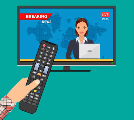Breaking news concept. News on television with remote control. News anchor broadcasting. Vector illustration in flat style