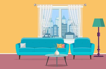 Living room interior with window Illustration