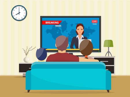 Familia con gato viendo la televisión programa de noticias diario sentado en el sofá en casa en la sala de estar