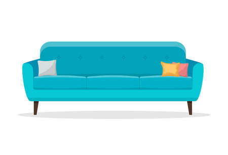 sofas with pillow icon isolated on white background. Vector illustration in flat style