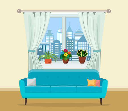 Sofa with pillows and window with plants.
