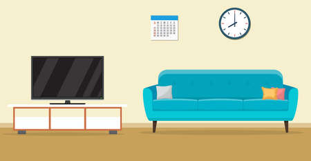 Living room interior design with furniture sofa, tv, clock. Vector illustration in flat style