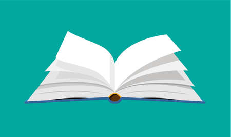 Open book with an upside down pages. Reading, education, e-book, literature, encyclopedia. Vector illustration in flat style