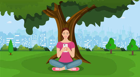 Woman whis smartphone sitting in city park under a tree. Woman using phone. Vector illustration in flat style