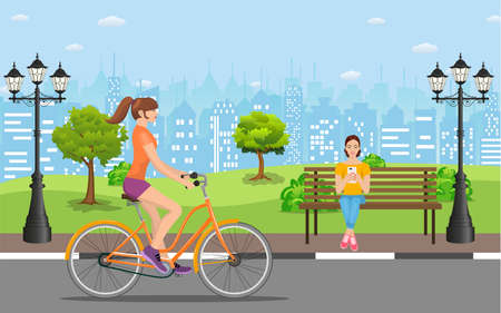 Woman riding a bicycle In Public Park, woman reading books outdoor on the bench in city park Vector illustration in flat design. Vector illustration in flat style