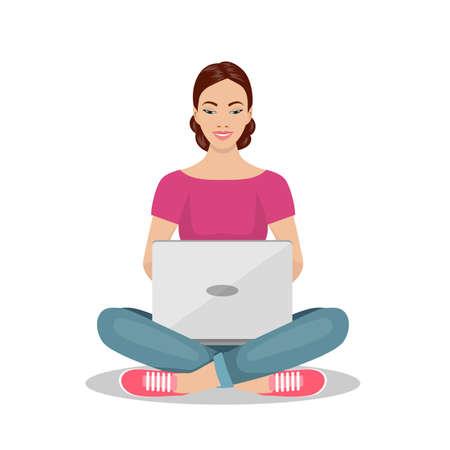 Jonge vrouw zittend op de vloer met laptop. Vectorillustratie in vlakke stijl