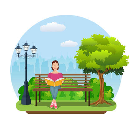 Young woman reading books outdoor on the bench in city park. Education, reading, studying. Vector illustration in flat style Illustration