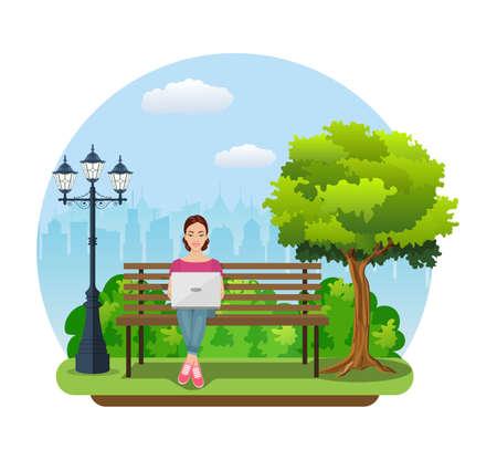Junge Frau arbeitet im Park mit Computer auf Bank unter Baum. Freiberuflicher Lebensstil. Vektorillustration im flachen Stil