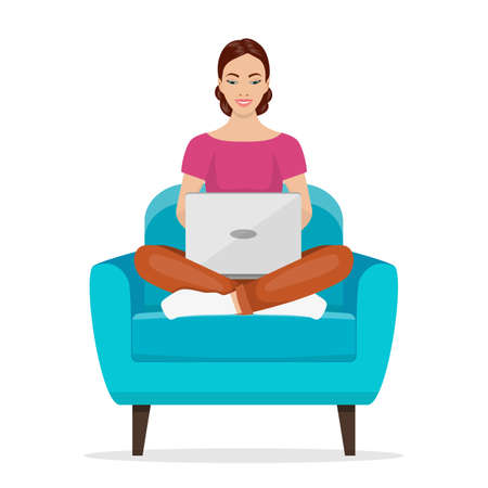 Girls working at home. Young woman sitting on a chair and using laptop. Freelance, self employed, freedom, in living room. Vector illustration in flat style