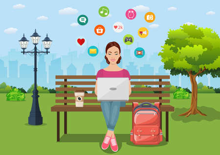 Young woman sitting in the park on the bench Illustration