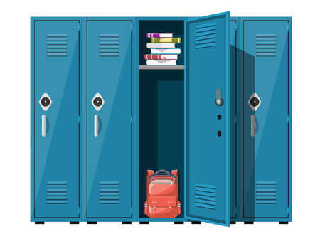 Blue metal cabinets. Lockers in school with silver handles and locks. Safe box with doors, cupboard, compartment. Books, backpack inside. Vector illustration in flat style Vettoriali