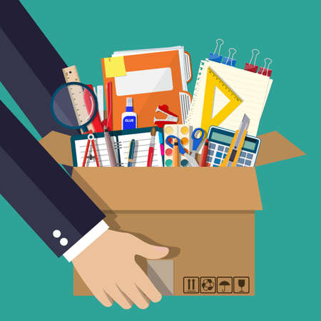 Office accessories in cardboard box in hand. Book, notebook, ruler, knife, folder, pencil, pen, calculator scissors tape file. Office supply stationery and education. illustration flat style Иллюстрация