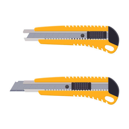 Yellow box cutter instrument isolated on white. Snap-off blade, stationery office supply knife. Boxcutter tool. Vector illustration in flat style