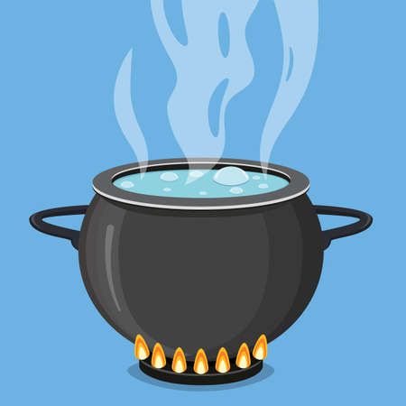 Boiling water in black pan. Cooking concept. Vector illustration in flat style  イラスト・ベクター素材