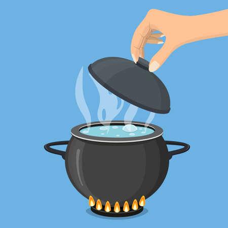 Casserole sur la cuisinière avec de l'eau et de la vapeur. Faire bouillir de l'eau dans une casserole. La main tient le couvercle. Illustration vectorielle dans un style plat